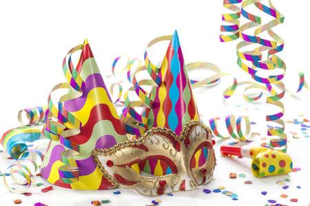 antifaz de carnaval: Decoración del partido aislado en el fondo blanco Foto de archivo