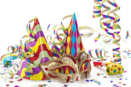 carnival party: Party decoration isolated on white background