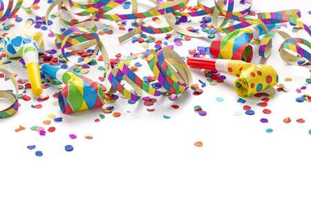 carnaval: Decoraci�n del partido aislado en el fondo blanco Foto de archivo
