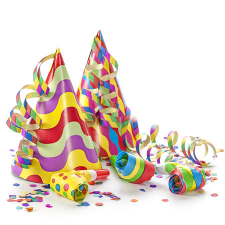 fasching: Party decoration isolated on white background