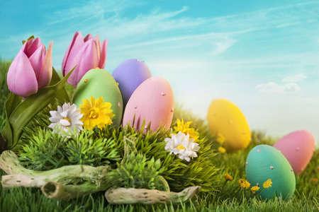 Pasen eieren op groen gras Stockfoto