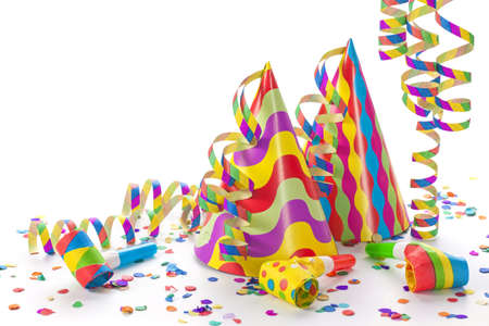 birthday celebration: Party decoration isolated on white background