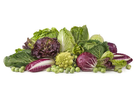 red cabbage: Assortment of fresh cabbages isolated on white background