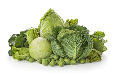 green cabbage: Assortment of fresh cabbages isolated on white background