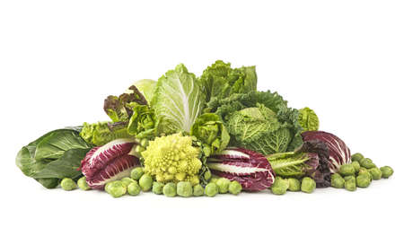 Assortment of fresh cabbages isolated on white background photo