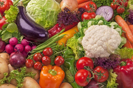 Assortment of fresh vegetables close up photo