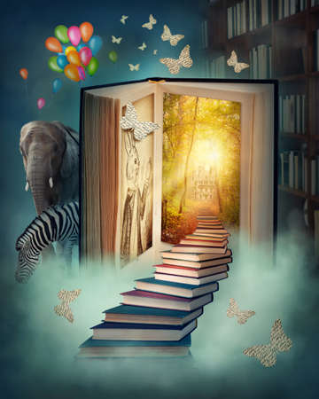 literatures: Upstairs to the magic book land Stock Photo
