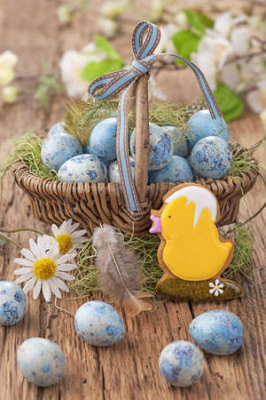 easter cookie: Easter cookie and blue eggs in a nest