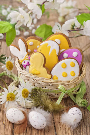 easter cookie: Colorful easter cookies in a nest
