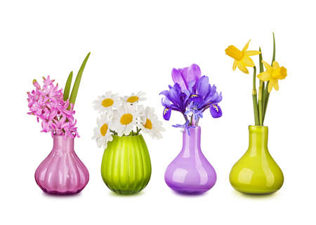 Spring flowers in vases isolated on white background Stock Photo