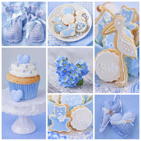 baby shower boy: Collage with sweets and decoration for baby party  Stock Photo