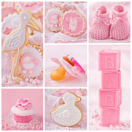 Collage with sweets and decoration for baby party photo