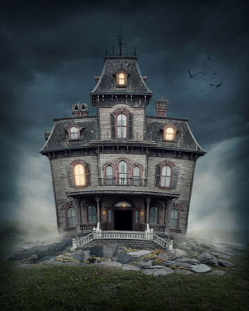 Haunted house on the empty field photo