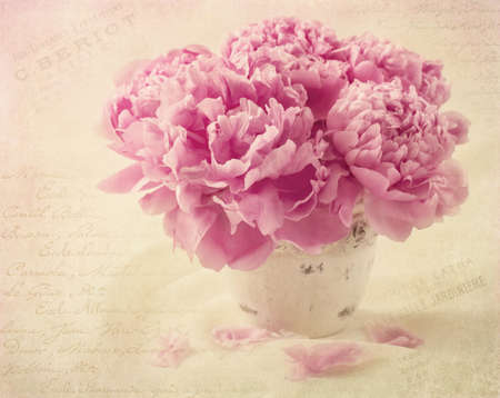 antique vase: Peony flowers in a vase Stock Photo