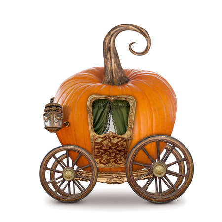 fairytale background: Pumpkin carriage isolated on white background Stock Photo