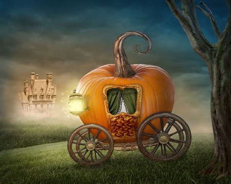 stories: Pumpkin carriage isolated on white background Stock Photo