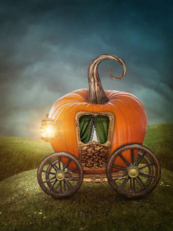 Pumpkin carriage on the meadow photo