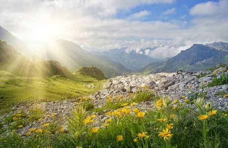 オーストリア フォアアールベルク州の山の風景 写真素材
