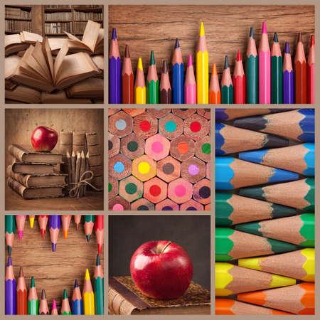 apilar: Collage de lápices y libros antiguos