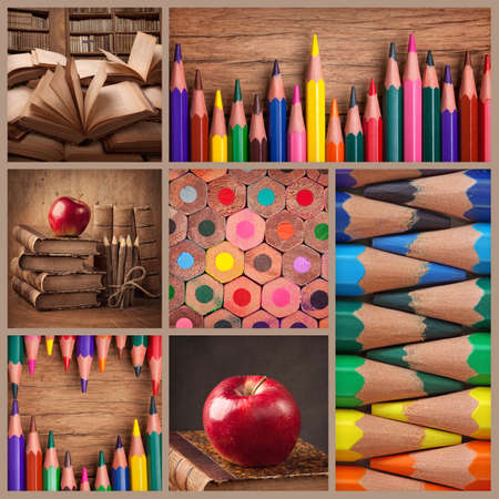 back to school: Collage of pencils and old books