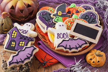 Colorful cookies for halloween party photo