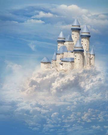 castello medievale: Fantasy castello tra le nuvole Archivio Fotografico
