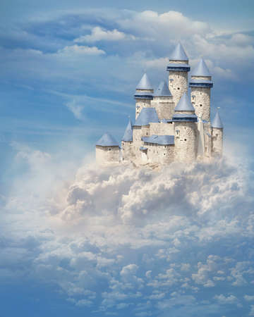castle tower: Fantasy castle in the clouds