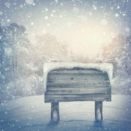 northpole: Wooden sign in winter forest Stock Photo