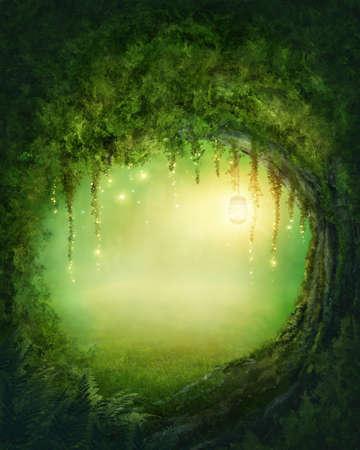 волшебный: Очарованный темный лес и огни Фото со стока
