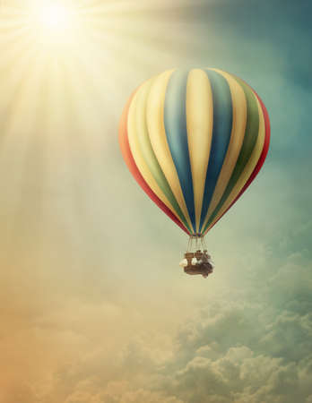 Hot air baloon high in the sky photo