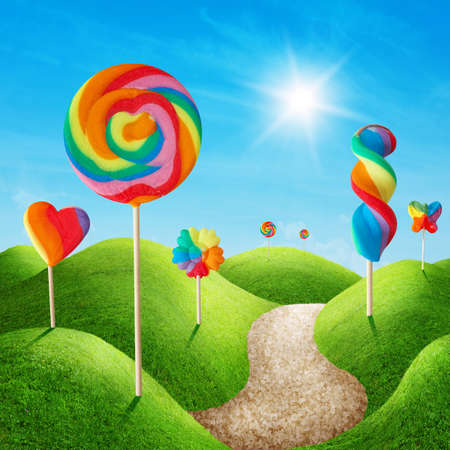 dream land: Fantasy sweet candy land with lollies