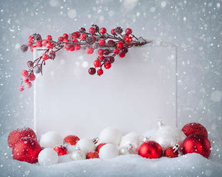 Blank sign  with christmas decorations photo