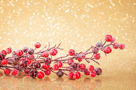 Branch wit red berries on a golden background