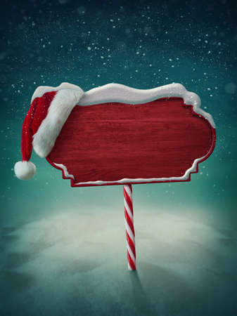 northpole: Wooden red sign and santa hat