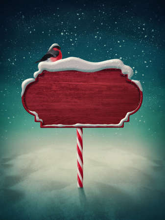 northpole: Wooden red sign and bird