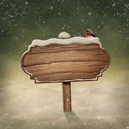 Wooden sign and bird in snow photo
