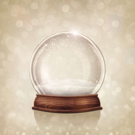 Snow globe on a golden background photo