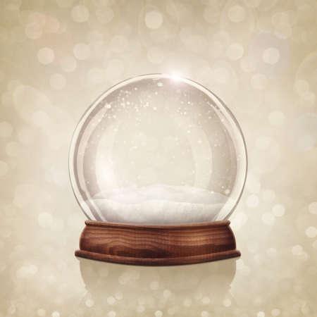 Snow globe on a golden background