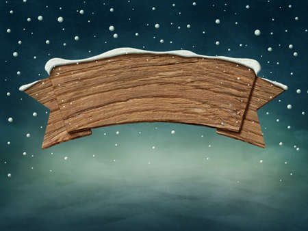 northpole: Wooden blank sign in snow Stock Photo