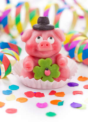 luckiness: Marzipan pig on white background