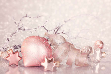 Christmas pink decoration with balls and ribbon Stock Photo