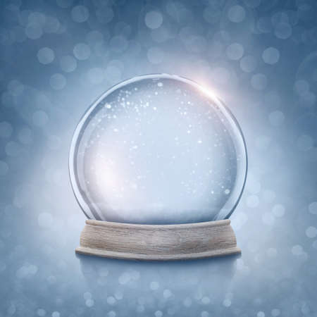 snow background: Snow globe on a blue background