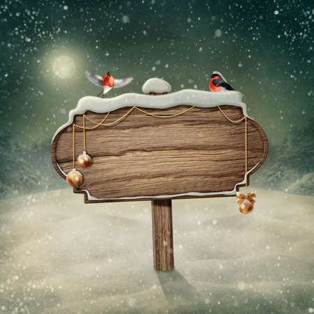 christmas landscape: Wooden sign and birds in snow Stock Photo