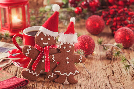 Christmas gingerbread men and hot drink Stock Photo