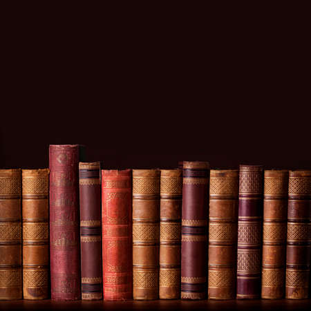 biblioteca: Libros antiguos y de �poca de pie en una fila