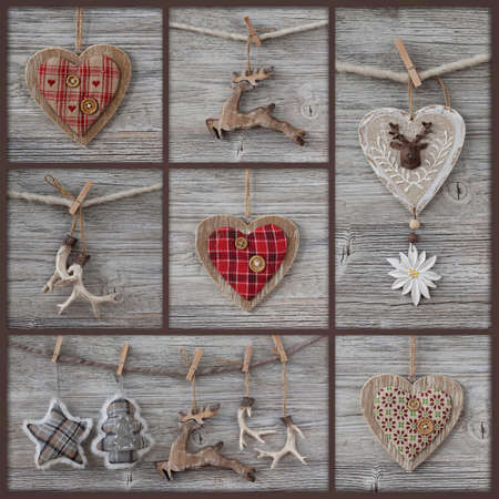 Collage of christmas photos over grey wood background photo