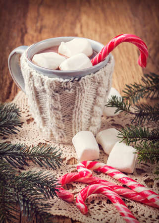 Hot chocolate with marshmallows and candy cane Stock Photo