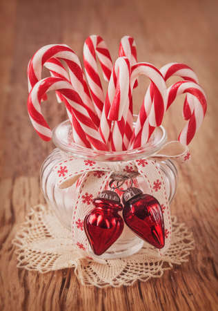 Candy canes in a glass photo