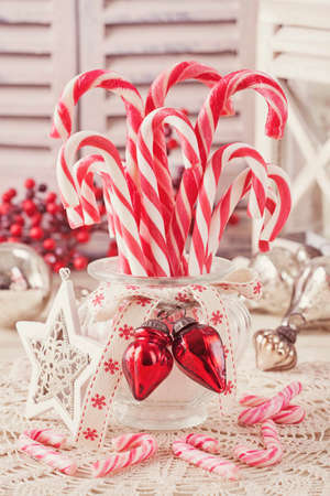 Candy canes in a glass Stock Photo - 24526957