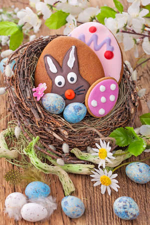 Colorful easter cookies in a nest photo